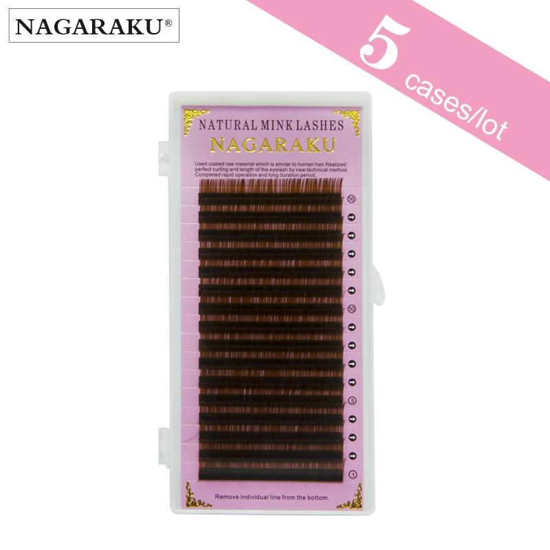 25566e1e5cf NAGARAKU 5 Cases Brown Eyelash Extension Cilia Individual Lashes ...